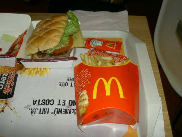 Even fast food is smaller and fresher in Europe. (Barcelona, Spain)