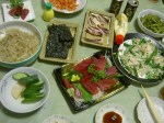The spread at Masako's house. She's from Okinawa so the food is Okinawan.  Different but yummy!