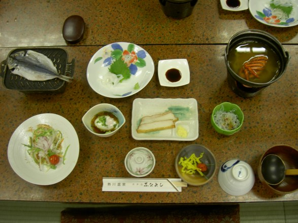 Breakfast at the hot springs in Japan