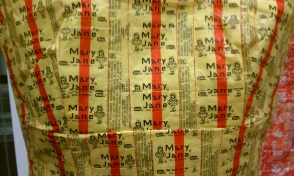Candy wrapper dress on display